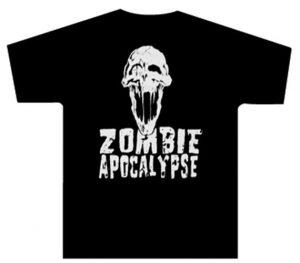 Zombie Apocalypse White Skull T-Shirt - $12